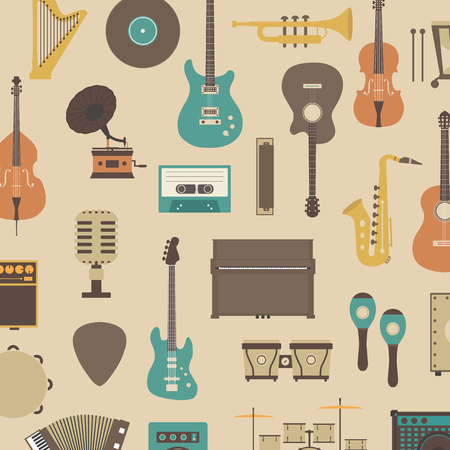 bass guitar: set of abstract classical music instrument icon, retro style Illustration