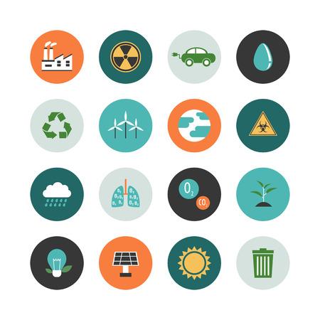 dioxido de carbono: conjunto de icono de medio ambiente concepto renovable, estilo plano Vectores