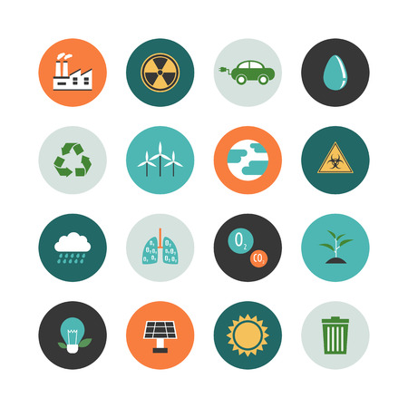 water icon: set of environment icon renewable concept, flat style Illustration