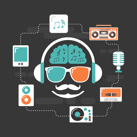 revival: set of old style listening gadget icon, retro revival Illustration
