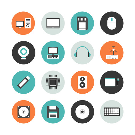 computer equipment: set of computer equipment icon