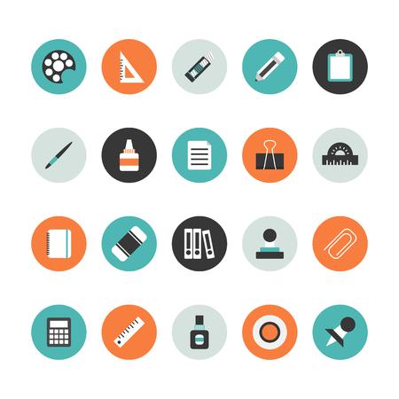 set of flat stationery icon