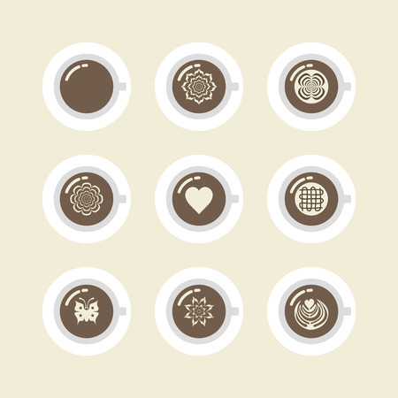 set van een kopje koffie, americano, cappuccino, mokka, latte en een andere latte art stijl