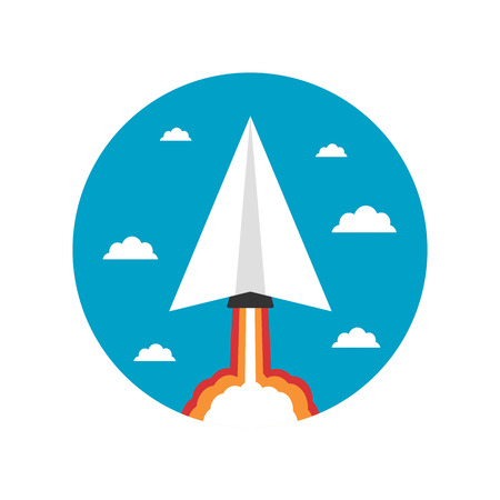 business space: startup business concept, paper plane launch like rocket fly to creative space