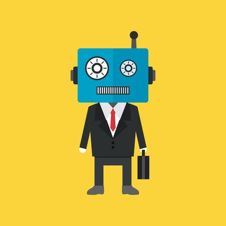 robot businessman in uniform,metaphor concept