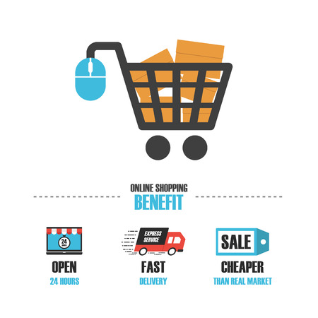 cart: Decorative concept of online shop infographic, isolated in white background