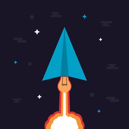 pensamiento creativo: El motor del avión de papel es la idea, puede lanzar al espacio creativo como un cohete, pensando concepto, estilo plano. Vectores