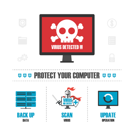 virus detected infographic, isolated on white background Vector Illustration