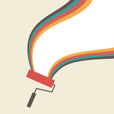 blank space: Paint roller with blank space, retro style Illustration