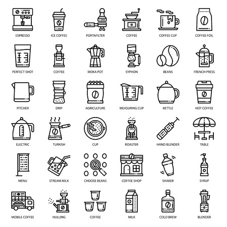 Coffee's equipment icon set, isolated on white background