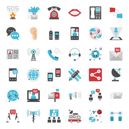 Communication evolution pixel perfect flat icon, isolated on white background Illustration