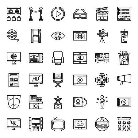 Movie entertainment pixel perfect outline icon, isolated on white background
