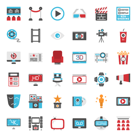 Movie entertainment pixel perfect flat icon, isolated on white background  イラスト・ベクター素材