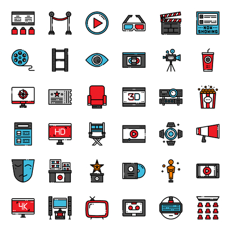 Movie entertainment pixel perfect filled outline icon, isolated on white background
