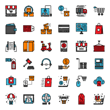 Online shopping pixel perfect fill outline icon, isolated on white background Ilustração