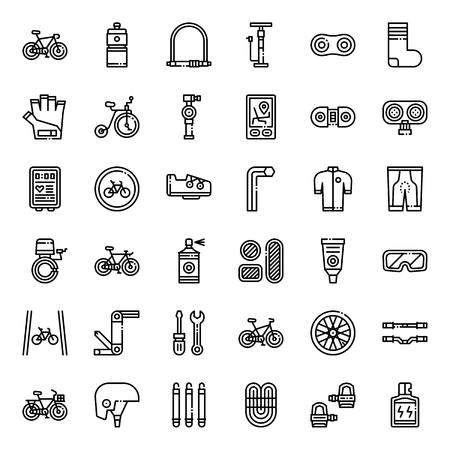 fietsaccessoires overzicht pictogram, sport en lichaamsbeweging, geïsoleerd op een witte achtergrond