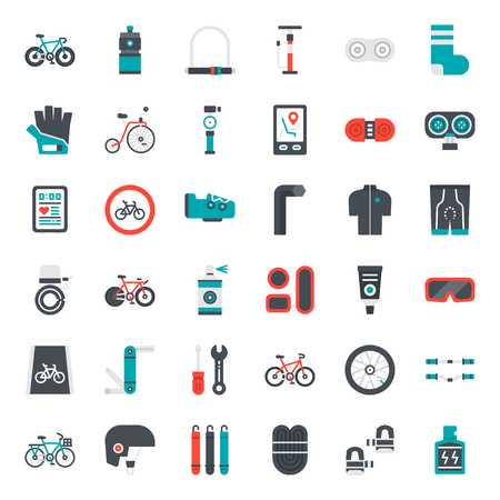 bicycle accessories flat icon, sport and exercise, isolated on white background Vector Illustratie