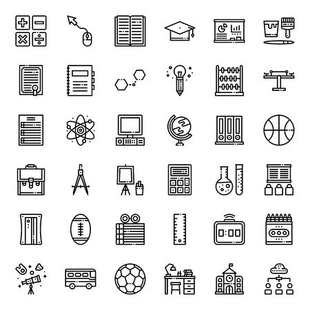 Education outline icon, subject and equipment, isolated on white background