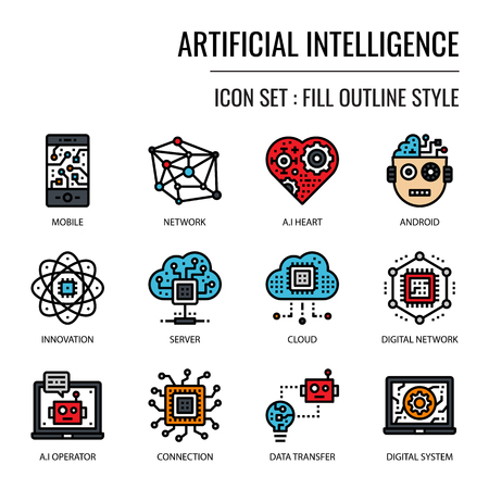 Artificial Intelligence, pixel perfect fill outline icon, isolated on white background Vector Illustration