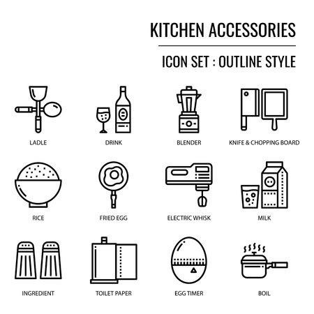 Icono de accesorios de cocina, aislado sobre fondo blanco.