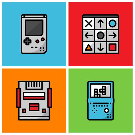 Retro game player filled outline icon