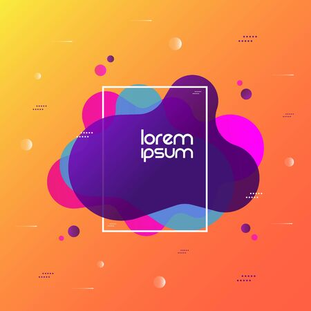 Abstract liquid shape. Fluid design on colorful background