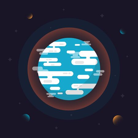 Earth flat design with planet and asteroid Ilustração