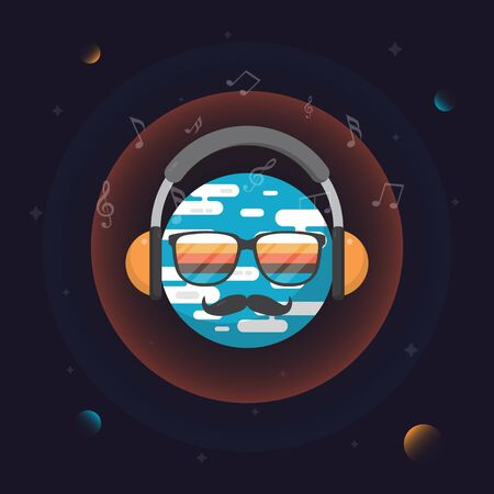 Earth flat design with earphone in space