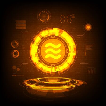 Golden Libra coin symbol with futuristic HUD interface, new digital currency