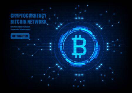 Simbolo Bitcoin con interfaccia HUD futuristica, valuta digitale