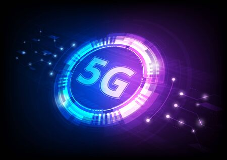 5G technology, symbol with futuristic HUD interface