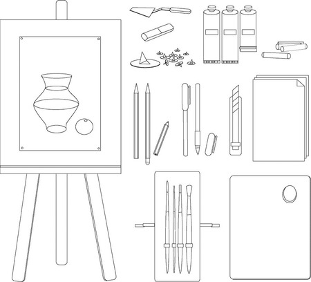 attributes:  the vectorial is black white image of attributes of young artist