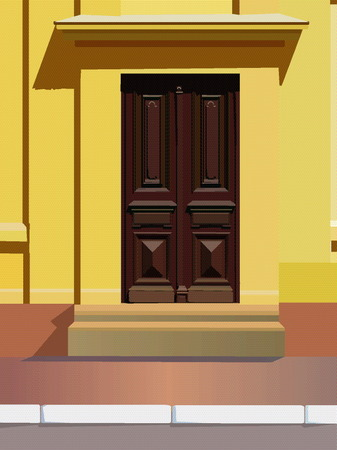 vectorial image of yellow house with a door