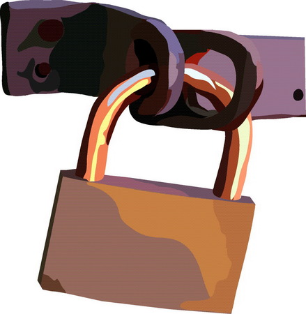 became:  vectorial image of the navesnogo metallic closed lock Illustration