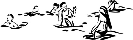 People relax and swim in  the sea Vector