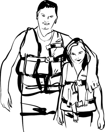 life jackets:    black and white Dad and daughter  in life jackets