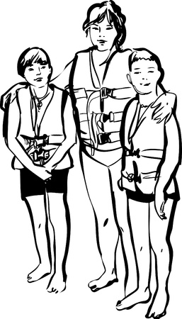 sketch of a woman with children in life jackets on a white background Vector