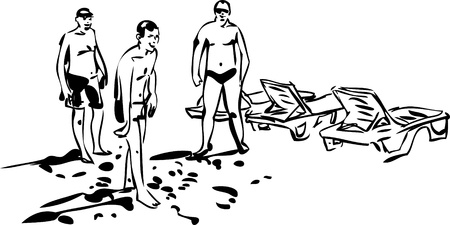 sun bed: black and white sketch of young men who spend time at the beach