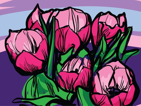 sketch a bouquet of tulips on a white background Vector