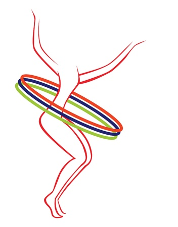 silhouette image on a white background gymnast with hoops Vector