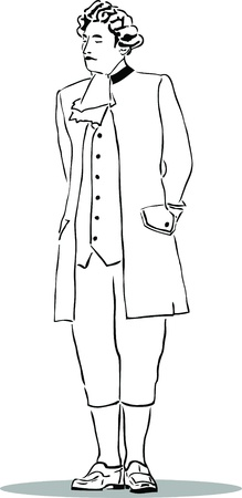 indignation: black and white image A man in an old suit Illustration