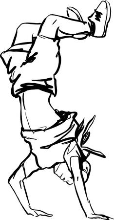 ligne: gars en jeans et un tableau T-shirt noir et blanc Illustration
