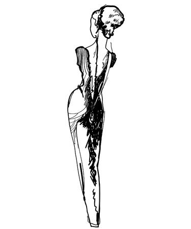 woman back of head: ragazza snella in un lungo abito nero disegnare schizzo