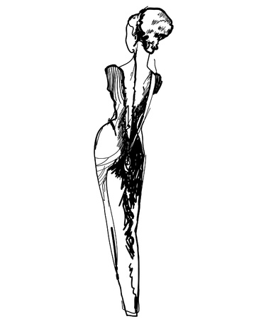 buttocks: slender girl in a long dress black and white drawing sketch