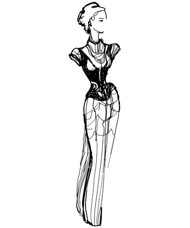 head dress: sketch of a slender girl in a long dress