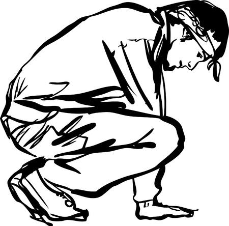 Bboy guy dancing breakdance  black and white Vector