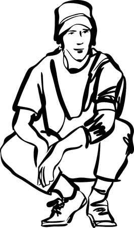 black and white line drawing: guy in jeans and a T-shirt  black and white Illustration