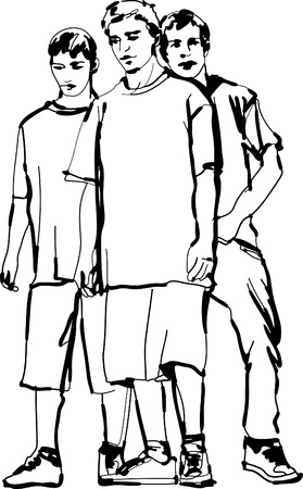 a black and white sketch of the guys