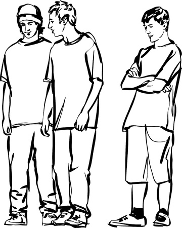 black and white line drawing:  a black and white sketch of the guys