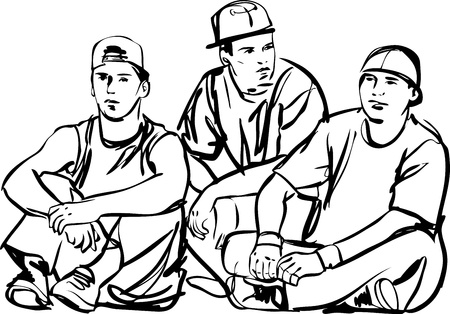 black and white line drawing: a black and white sketch of the guys Illustration